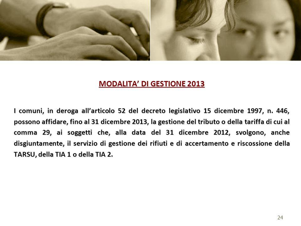 MODALITA DI GESTIONE 2013 I comuni, in deroga allarticolo 52 del decreto legislativo 15 dicembre 1997, n. 446, possono affidare, fino al 31 dicembre 2