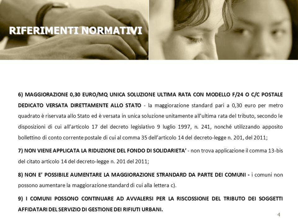 6) MAGGIORAZIONE 0,30 EURO/MQ UNICA SOLUZIONE ULTIMA RATA CON MODELLO F/24 O C/C POSTALE DEDICATO VERSATA DIRETTAMENTE ALLO STATO - la maggiorazione s