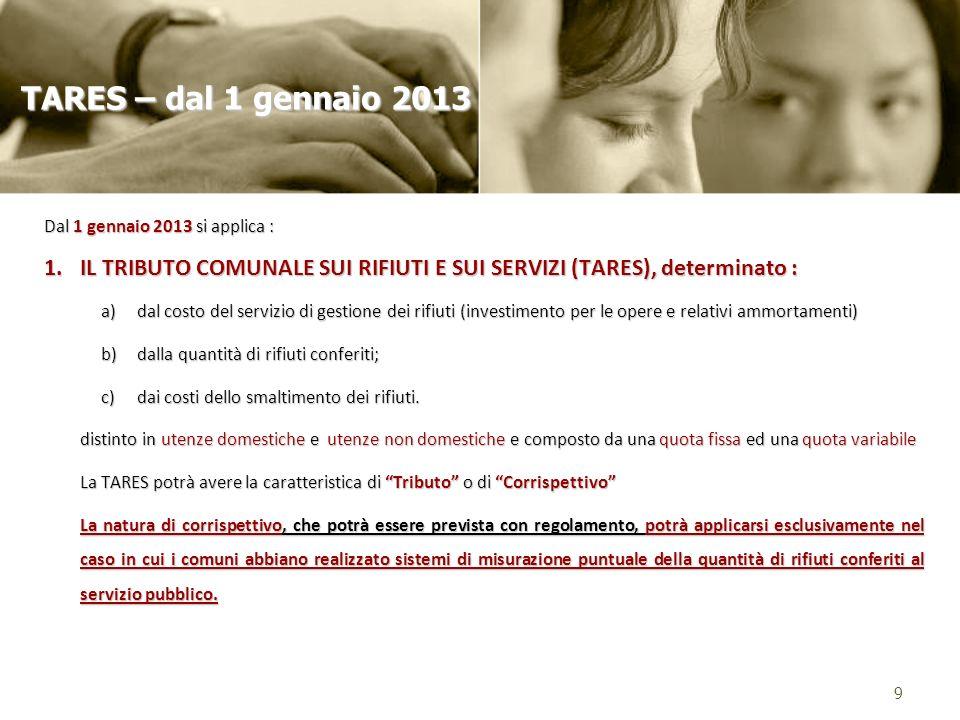 Dal 1 gennaio 2013 si applica : 1.IL TRIBUTO COMUNALE SUI RIFIUTI E SUI SERVIZI (TARES), determinato : a)dal costo del servizio di gestione dei rifiut