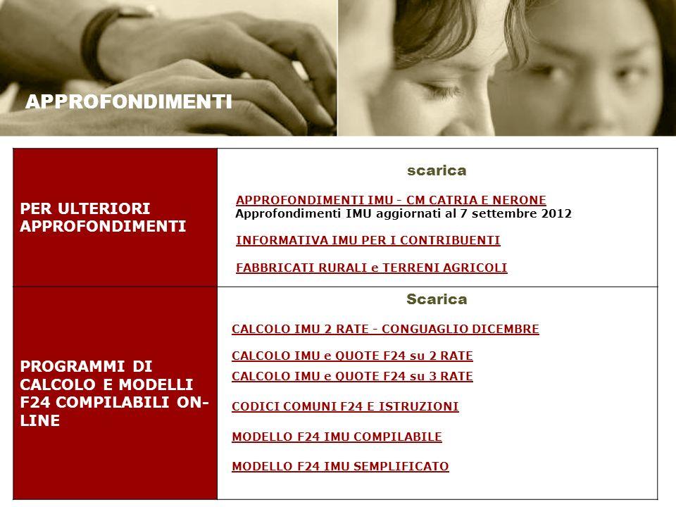 APPROFONDIMENTI PER ULTERIORI APPROFONDIMENTI scarica APPROFONDIMENTI IMU - CM CATRIA E NERONE Approfondimenti IMU aggiornati al 7 settembre 2012 INFORMATIVA IMU PER I CONTRIBUENTI FABBRICATI RURALI e TERRENI AGRICOLI PROGRAMMI DI CALCOLO E MODELLI F24 COMPILABILI ON- LINE Scarica CALCOLO IMU 2 RATE - CONGUAGLIO DICEMBRE CALCOLO IMU e QUOTE F24 su 2 RATE CALCOLO IMU e QUOTE F24 su 3 RATE CODICI COMUNI F24 E ISTRUZIONI MODELLO F24 IMU COMPILABILE MODELLO F24 IMU SEMPLIFICATO