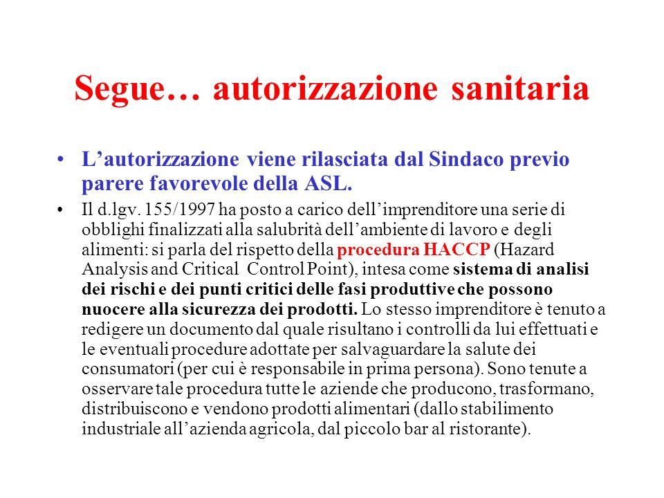 AUTORIZZAZIONE SANITARIA Il controllo da parte delle autorità sanitarie mira a proteggere la salute del consumatore/cliente e riguarda in particolare