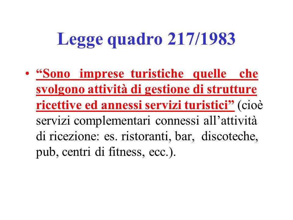 Legge quadro 217/1983 Sono imprese turistiche quelle che svolgono attività di gestione di strutture ricettive ed annessi servizi turistici (cioè servizi complementari connessi allattività di ricezione: es.