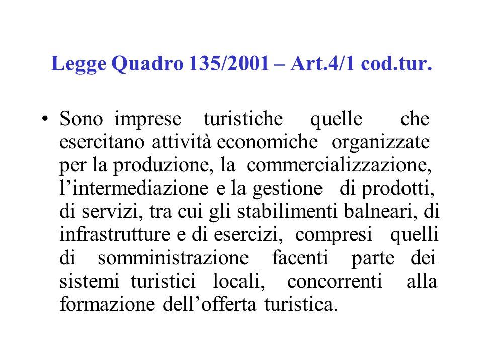 Legge quadro 217/1983 Sono imprese turistiche quelle che svolgono attività di gestione di strutture ricettive ed annessi servizi turistici (cioè servi