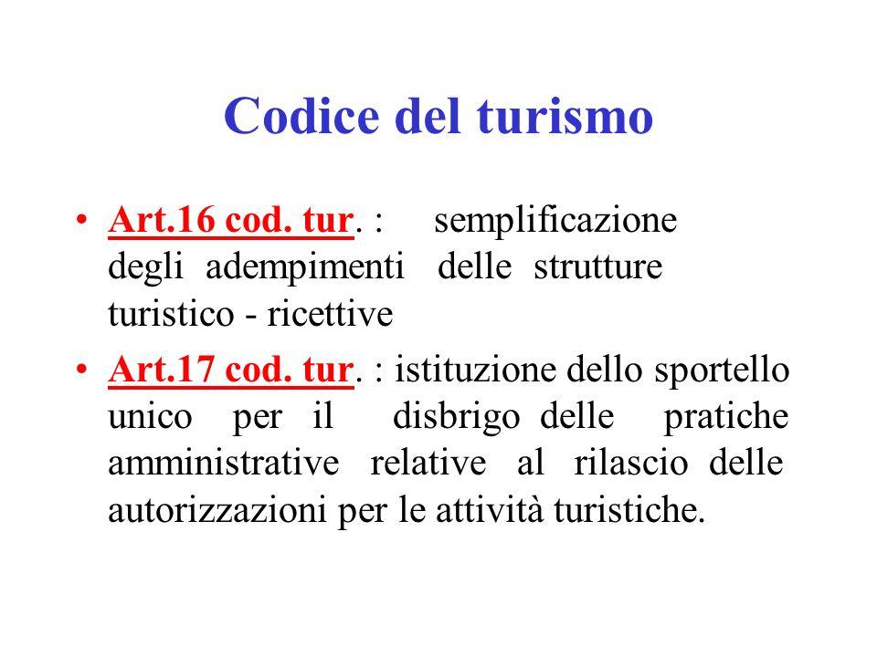 Codice del turismo Art.16 cod.tur.