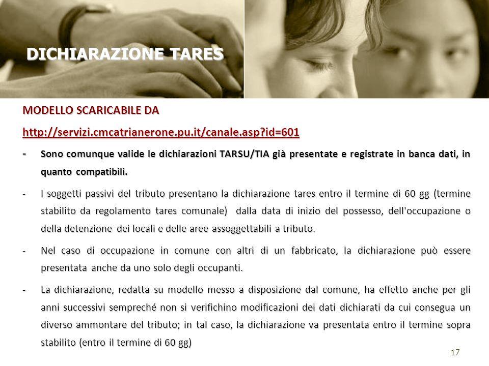 MODELLO SCARICABILE DA http://servizi.cmcatrianerone.pu.it/canale.asp?id=601 - Sono comunque valide le dichiarazioni TARSU/TIA già presentate e registrate in banca dati, in quanto compatibili.