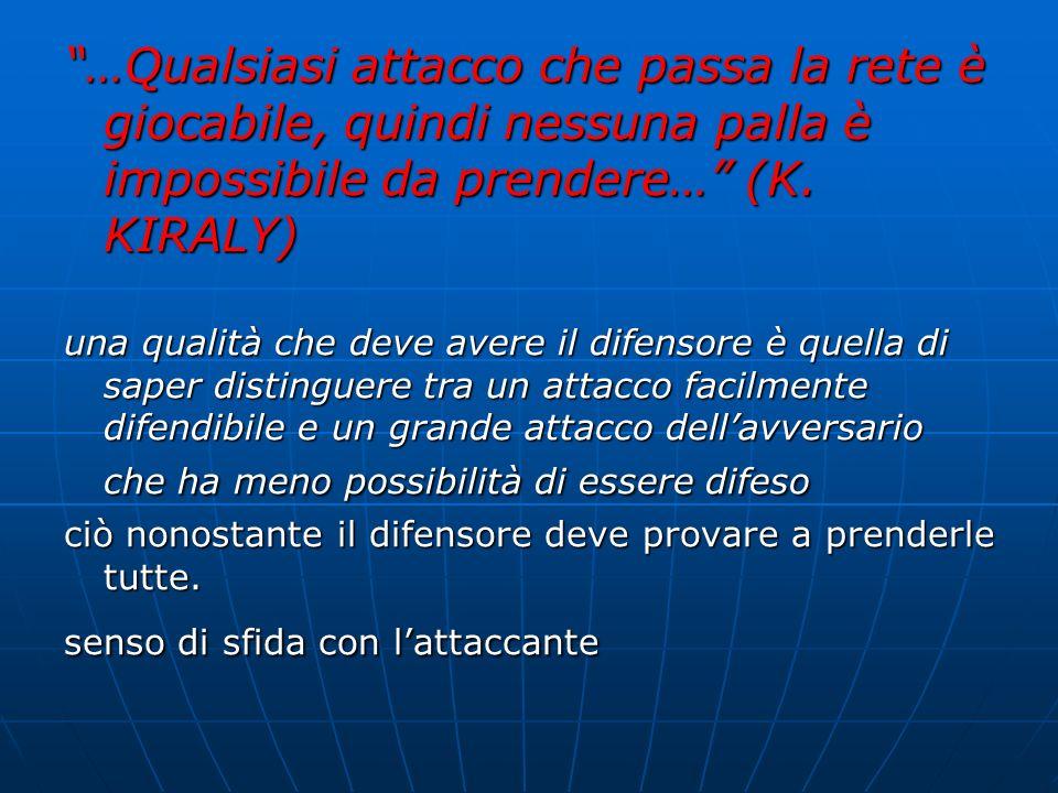 …Qualsiasi attacco che passa la rete è giocabile, quindi nessuna palla è impossibile da prendere… (K. KIRALY) una qualità che deve avere il difensore
