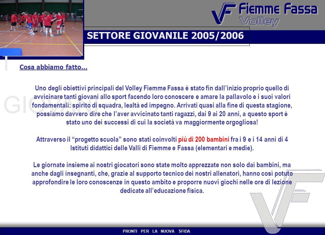 SETTORE GIOVANILE 2005/2006 I GIOVANI Cosa abbiamo fatto… Uno degli obiettivi principali del Volley Fiemme Fassa è stato fin dallinizio proprio quello