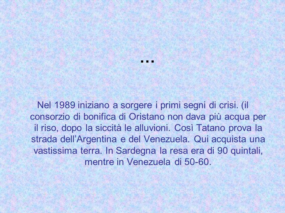 … Nel 1989 iniziano a sorgere i primi segni di crisi. (il consorzio di bonifica di Oristano non dava più acqua per il riso, dopo la siccità le alluvio