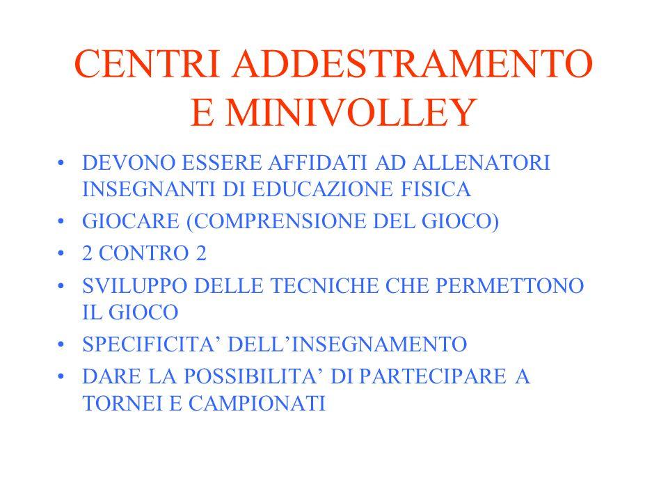 CENTRI ADDESTRAMENTO E MINIVOLLEY DEVONO ESSERE AFFIDATI AD ALLENATORI INSEGNANTI DI EDUCAZIONE FISICA GIOCARE (COMPRENSIONE DEL GIOCO) 2 CONTRO 2 SVI
