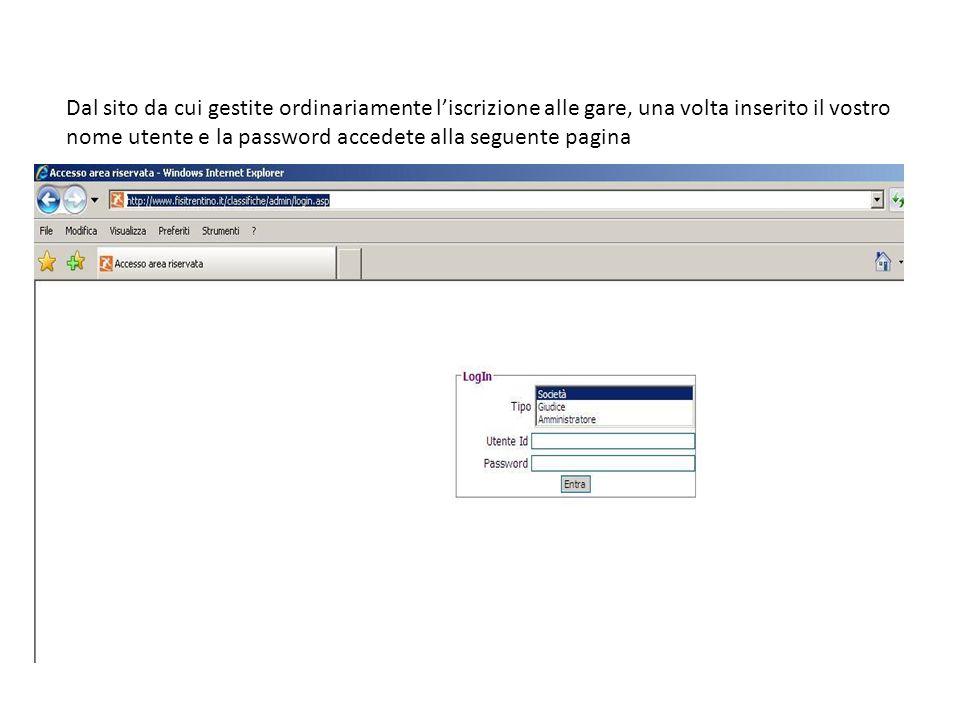 Dal sito da cui gestite ordinariamente liscrizione alle gare, una volta inserito il vostro nome utente e la password accedete alla seguente pagina
