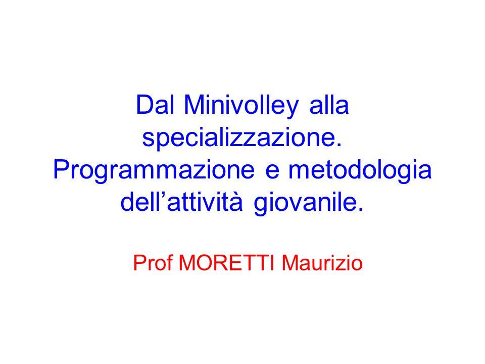 Dal Minivolley alla specializzazione. Programmazione e metodologia dellattività giovanile. Prof MORETTI Maurizio
