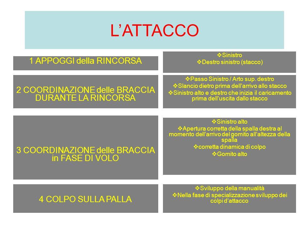 LATTACCO 1 APPOGGI della RINCORSA Sinistro Destro sinistro (stacco) 2 COORDINAZIONE delle BRACCIA DURANTE LA RINCORSA Passo Sinistro / Arto sup. destr