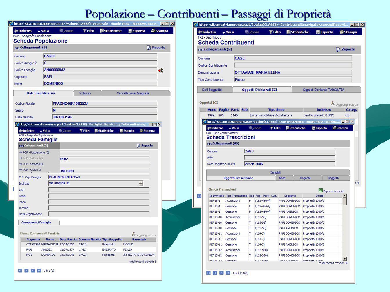 Popolazione – Contribuenti – Passaggi di Proprietà