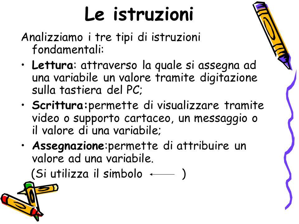 Le istruzioni Analizziamo i tre tipi di istruzioni fondamentali: Lettura: attraverso la quale si assegna ad una variabile un valore tramite digitazion