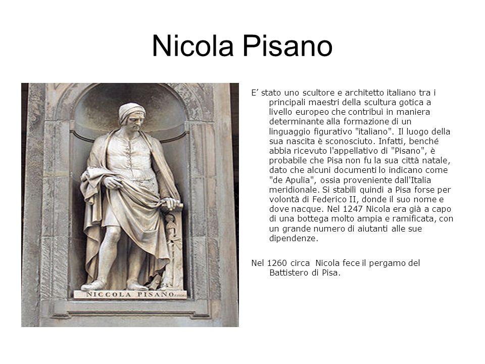 Pulpito del Battistero di Pisa Il pulpito del Battistero di Pisa, firmato e datato 1260 è un opera di piena maturità, con la quale vengono introdotte contemporaneamente una serie cospicua di novità di assoluto rilievo.