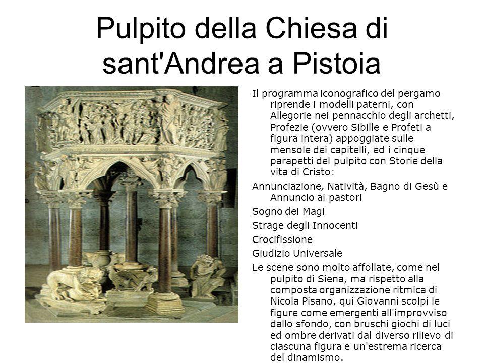 Pulpito della Chiesa di sant'Andrea a Pistoia Il programma iconografico del pergamo riprende i modelli paterni, con Allegorie nei pennacchio degli arc