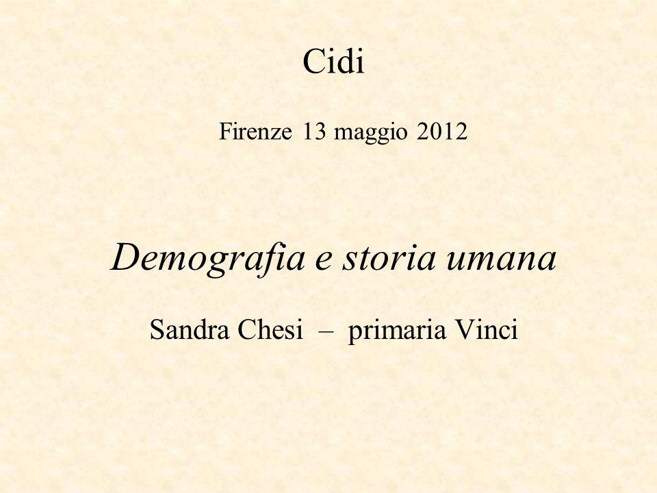 Cidi Firenze 13 maggio 2012 Demografia e storia umana Sandra Chesi – primaria Vinci