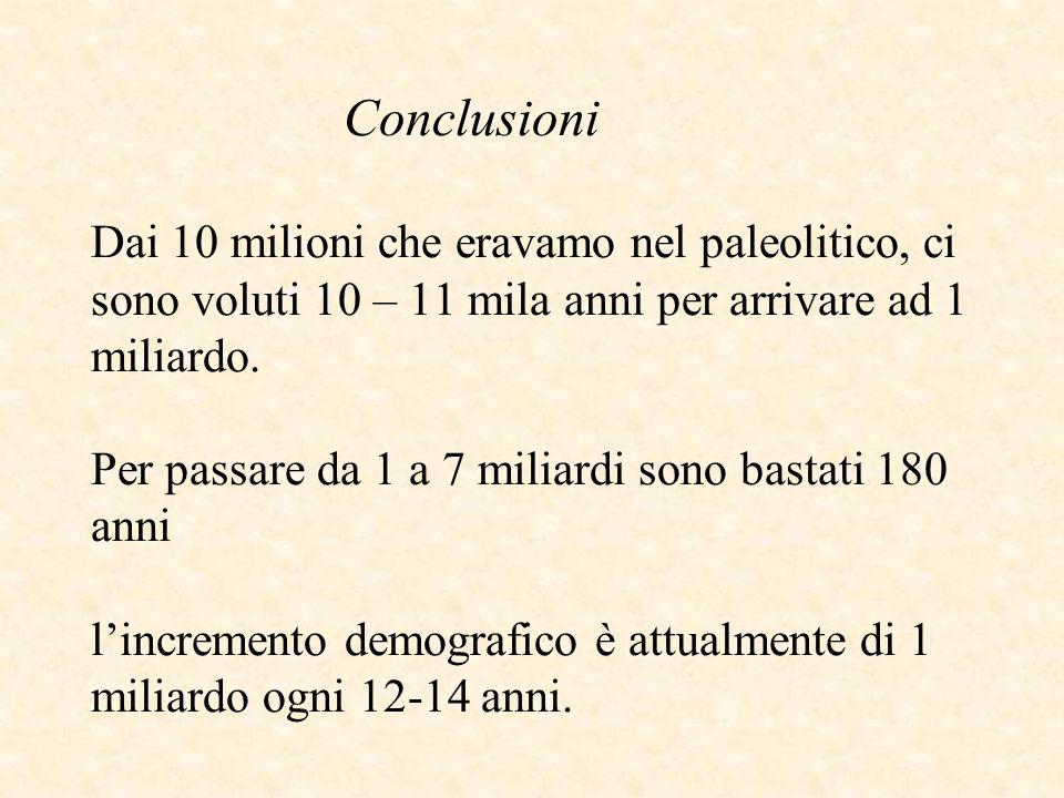 Conclusioni Dai 10 milioni che eravamo nel paleolitico, ci sono voluti 10 – 11 mila anni per arrivare ad 1 miliardo. Per passare da 1 a 7 miliardi son