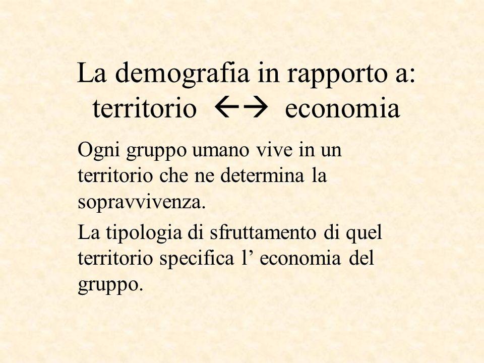 La demografia in rapporto a: territorio economia Ogni gruppo umano vive in un territorio che ne determina la sopravvivenza. La tipologia di sfruttamen