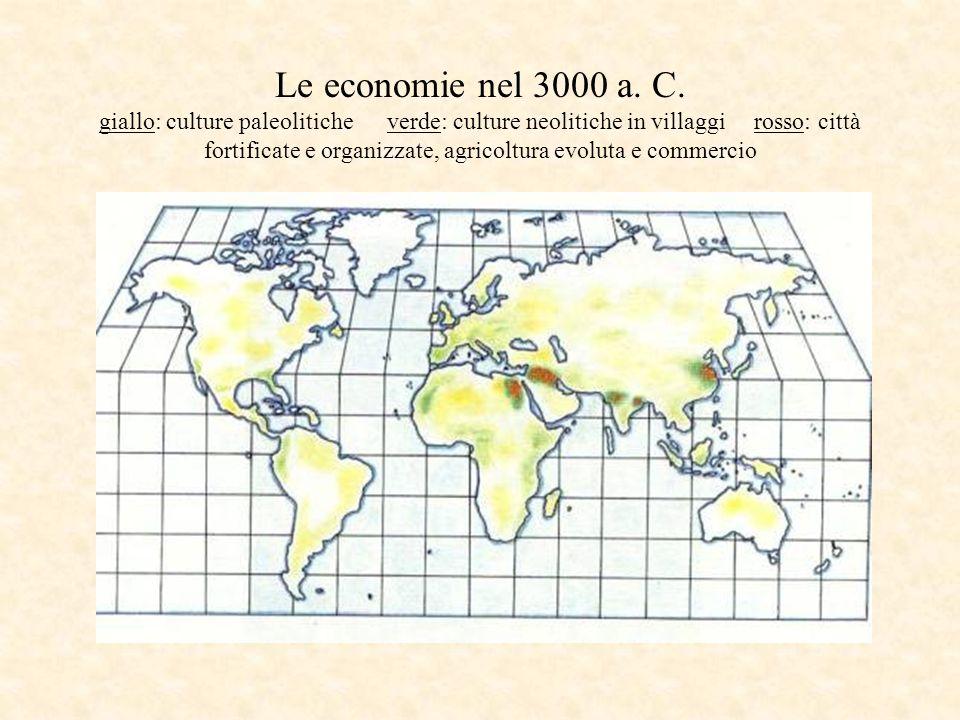 Le economie nel 3000 a. C. giallo: culture paleolitiche verde: culture neolitiche in villaggi rosso: città fortificate e organizzate, agricoltura evol