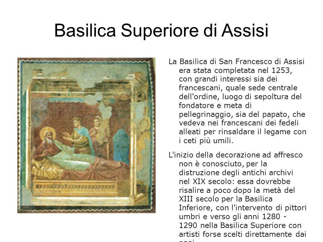 Le Storie di San Francesco La fascia inferiore della navata venne occupata dalle ventotto Storie di San Francesco databili tra l ultimo decennio del XIII secolo ed i primi anni del XIV, un ciclo grandioso che stupì i contemporanei e segnò una svolta nella pittura occidentale.