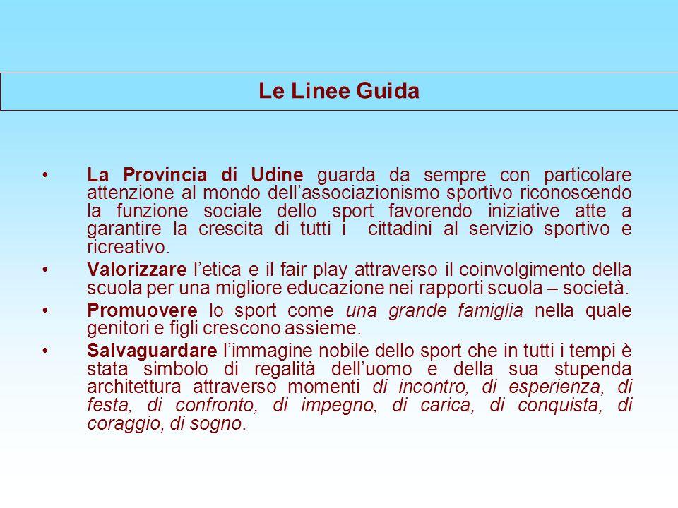 Le Linee Guida La Provincia di Udine guarda da sempre con particolare attenzione al mondo dellassociazionismo sportivo riconoscendo la funzione sociale dello sport favorendo iniziative atte a garantire la crescita di tutti i cittadini al servizio sportivo e ricreativo.