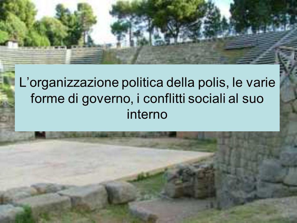 Lorganizzazione politica della polis, le varie forme di governo, i conflitti sociali al suo interno