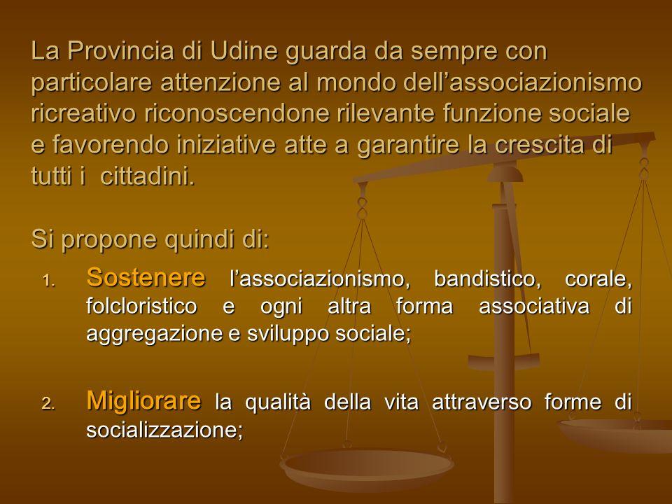 La Provincia di Udine guarda da sempre con particolare attenzione al mondo dellassociazionismo ricreativo riconoscendone rilevante funzione sociale e favorendo iniziative atte a garantire la crescita di tutti i cittadini.