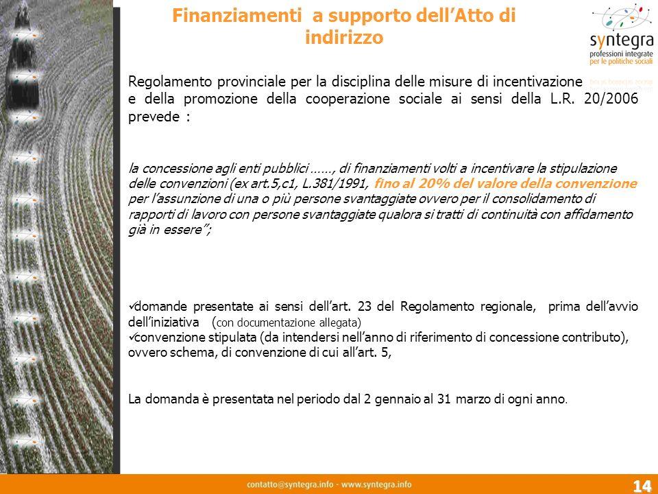 14 Finanziamenti a supporto dellAtto di indirizzo Regolamento provinciale per la disciplina delle misure di incentivazione e della promozione della cooperazione sociale ai sensi della L.R.