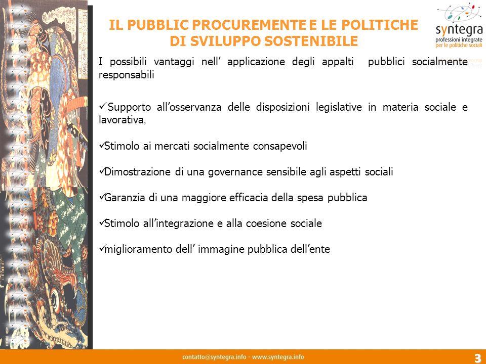 3 IL PUBBLIC PROCUREMENTE E LE POLITICHE DI SVILUPPO SOSTENIBILE I possibili vantaggi nell applicazione degli appalti pubblici socialmente responsabil