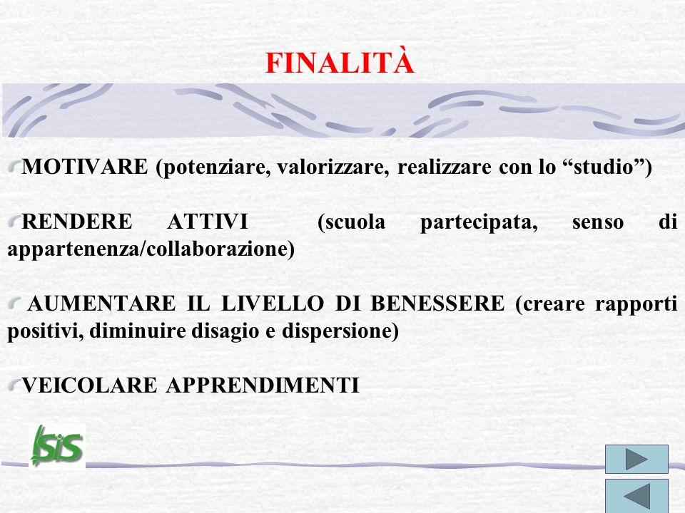 FINALITÀ MOTIVARE (potenziare, valorizzare, realizzare con lo studio) RENDERE ATTIVI (scuola partecipata, senso di appartenenza/collaborazione) AUMENT