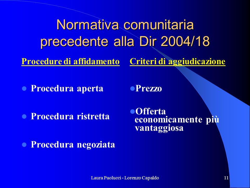 Laura Paolucci - Lorenzo Capaldo11 Normativa comunitaria precedente alla Dir 2004/18 Procedure di affidamento Procedura aperta Procedura ristretta Procedura negoziata Criteri di aggiudicazione Prezzo Offerta economicamente più vantaggiosa