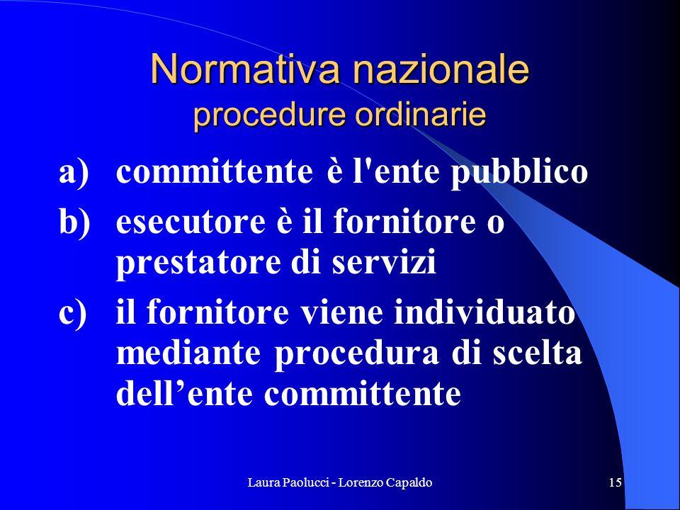 Laura Paolucci - Lorenzo Capaldo15 Normativa nazionale procedure ordinarie a) committente è l ente pubblico b) esecutore è il fornitore o prestatore di servizi c) il fornitore viene individuato mediante procedura di scelta dellente committente