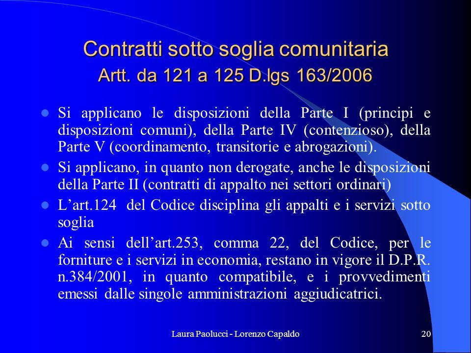 Laura Paolucci - Lorenzo Capaldo20 Contratti sotto soglia comunitaria Artt.