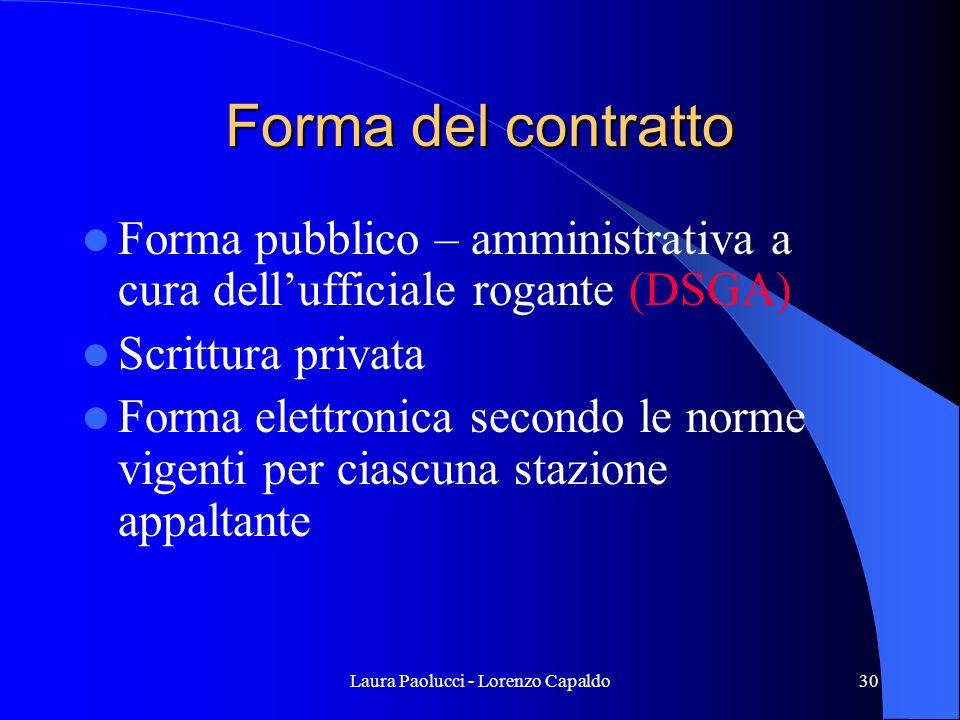 Laura Paolucci - Lorenzo Capaldo30 Forma del contratto Forma pubblico – amministrativa a cura dellufficiale rogante (DSGA) Scrittura privata Forma elettronica secondo le norme vigenti per ciascuna stazione appaltante