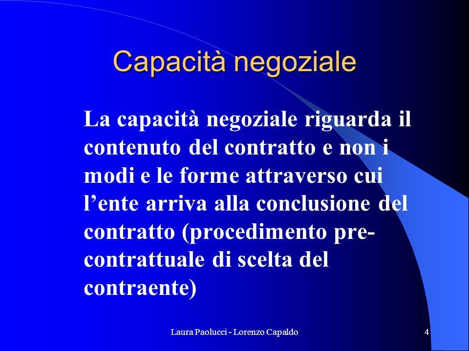 Laura Paolucci - Lorenzo Capaldo5 Procedimento di scelta del contraente Ha natura di azione amministrativa, di diritto pubblico In quanto azione amministrativa, ad essa si applicano le disposizioni della l.