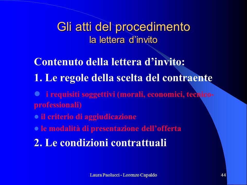 Laura Paolucci - Lorenzo Capaldo44 Gli atti del procedimento la lettera dinvito Contenuto della lettera dinvito: 1.