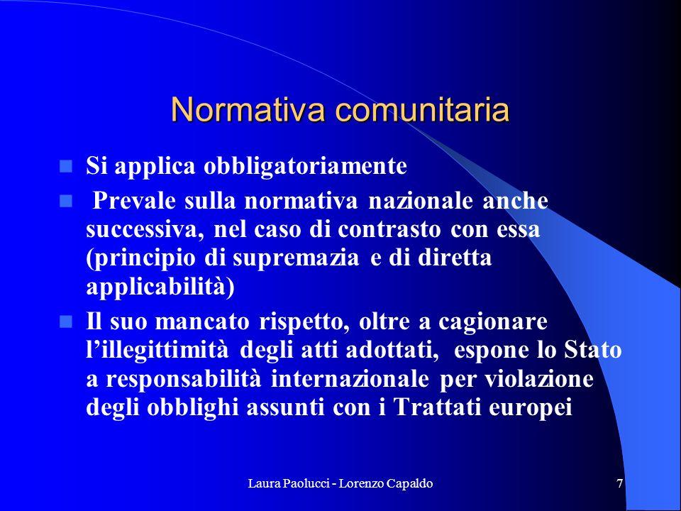 Laura Paolucci - Lorenzo Capaldo8 Le nuove direttive comunitarie Direttiva 2004/18 CE del 30.04.2004 coordinamento delle procedure di aggiudicazione degli appalti nei settori ordinari Direttiva 2004/17 CE del 30.04.2004 coordinamento delle procedure di appalto dei settori esclusi