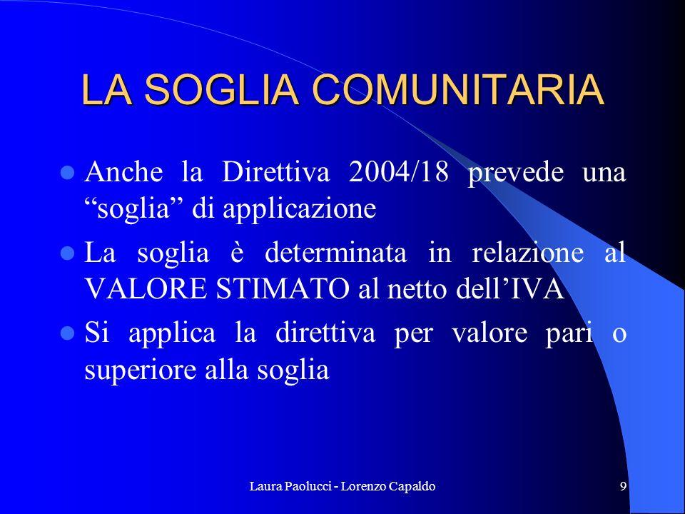 Laura Paolucci - Lorenzo Capaldo9 LA SOGLIA COMUNITARIA Anche la Direttiva 2004/18 prevede una soglia di applicazione La soglia è determinata in relazione al VALORE STIMATO al netto dellIVA Si applica la direttiva per valore pari o superiore alla soglia