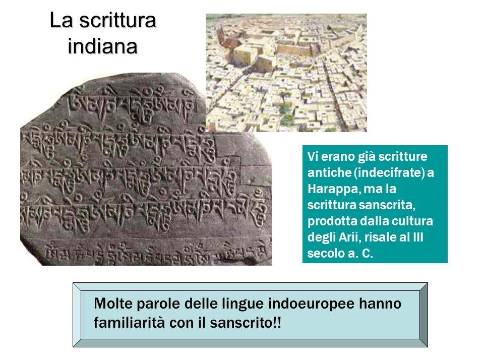 La scrittura indiana Vi erano già scritture antiche (indecifrate) a Harappa, ma la scrittura sanscrita, prodotta dalla cultura degli Arii, risale al I