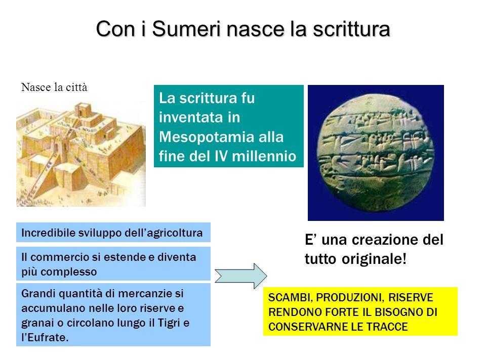 Con i Sumeri nasce la scrittura Nasce la città La scrittura fu inventata in Mesopotamia alla fine del IV millennio E una creazione del tutto originale
