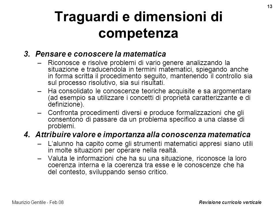 Revisione curricolo verticale 13 Maurizio Gentile - Feb.08 Traguardi e dimensioni di competenza 3.Pensare e conoscere la matematica –Riconosce e risol