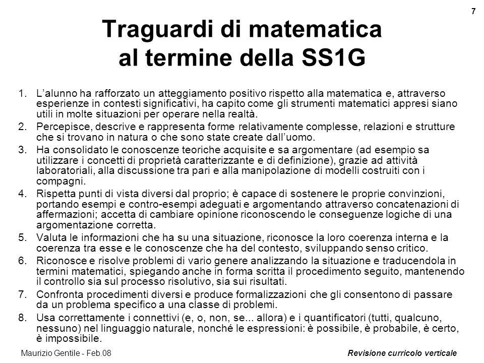 Revisione curricolo verticale 7 Maurizio Gentile - Feb.08 Traguardi di matematica al termine della SS1G 1.Lalunno ha rafforzato un atteggiamento posit