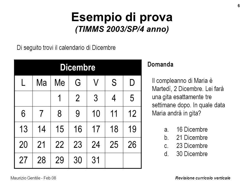 Revisione curricolo verticale 7 Maurizio Gentile - Feb.08 Esempio di prova (TIMMS 2003/SS1G/3 anno) La tabella mostra i voti ottenuti dagli alunni di una classe su un prova di verifica.