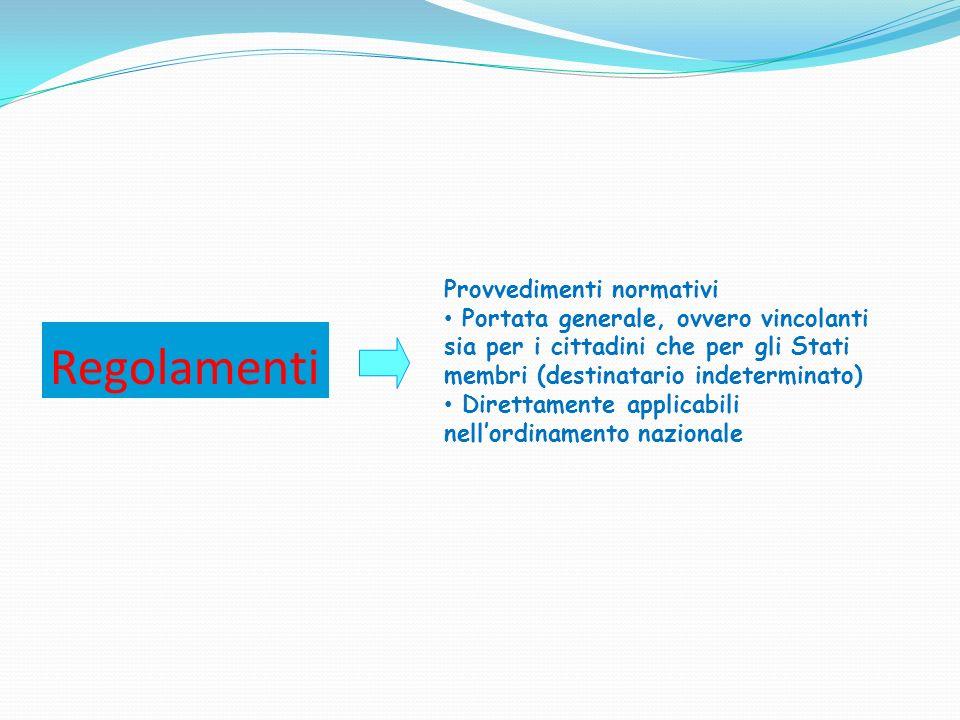 Regolamenti Provvedimenti normativi Portata generale, ovvero vincolanti sia per i cittadini che per gli Stati membri (destinatario indeterminato) Dire