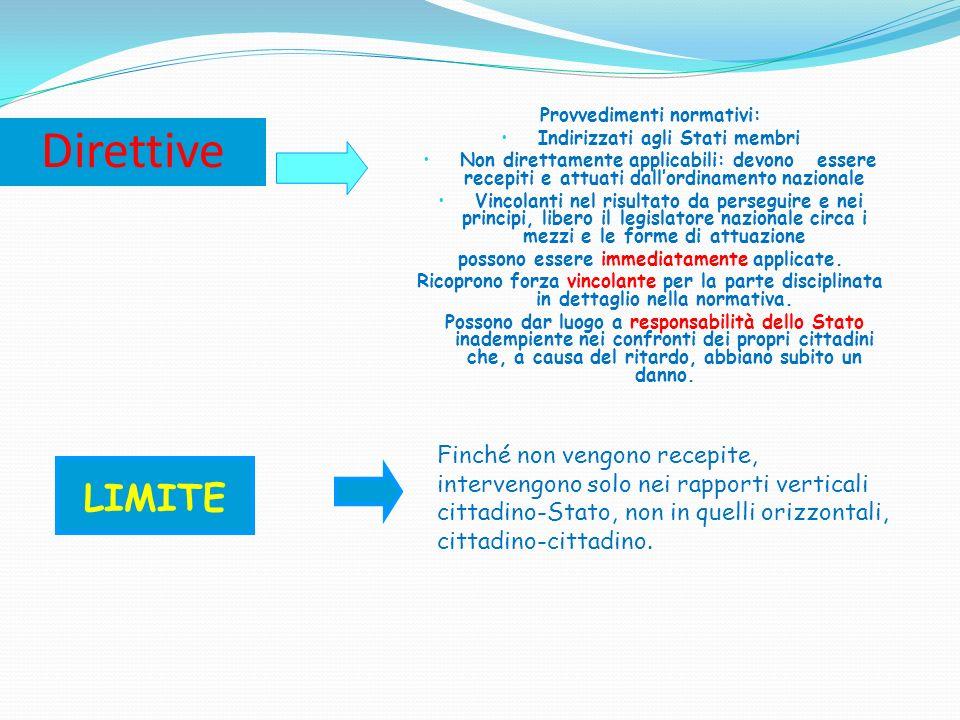 DECISIONI Provvedimenti normativi: Concreti, ovvero con destinatario determinato (persona fisica o giuridica o uno o più Stati membri) Vincolanti, ma solo per i destinatari RACCOMANDAZIONI E PARERI Provvedimenti non vincolanti: Le raccomandazioni sono esortazioni rivolte agli Stati I pareri sono opinioni della Unione europea su determinati argomenti ATLTRI PROVVEDIMENTI Comunicazioni, risoluzioni, atti programmatici o propositivi, che si inseriscono nelliter di formazione del diritto: non sono vincolanti costituiscono una guida per liter legislativo