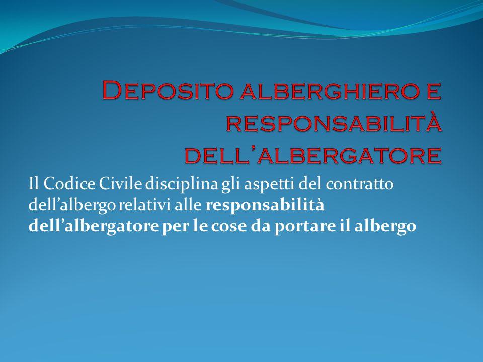 Il Codice Civile disciplina gli aspetti del contratto dellalbergo relativi alle responsabilità dellalbergatore per le cose da portare il albergo