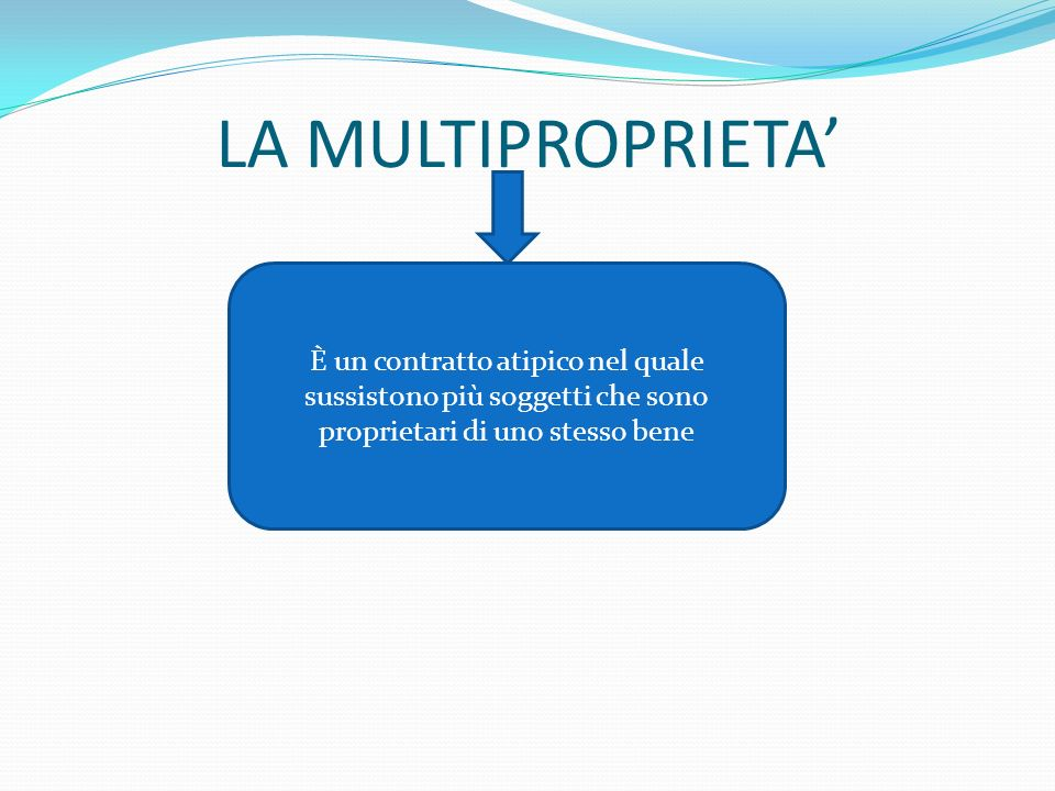 LA MULTIPROPRIETA È un contratto atipico nel quale sussistono più soggetti che sono proprietari di uno stesso bene