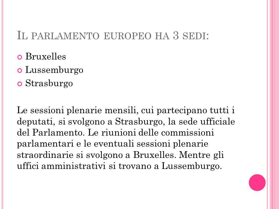 I L PARLAMENTO EUROPEO HA 3 SEDI : Bruxelles Lussemburgo Strasburgo Le sessioni plenarie mensili, cui partecipano tutti i deputati, si svolgono a Strasburgo, la sede ufficiale del Parlamento.