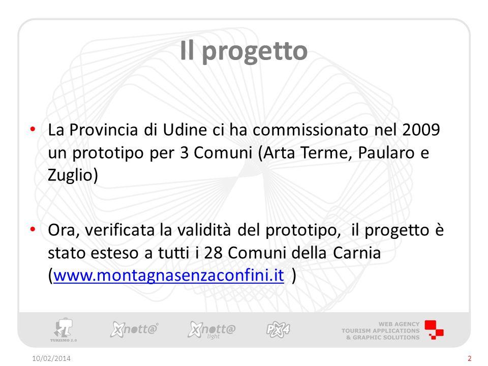 Il progetto La Provincia di Udine ci ha commissionato nel 2009 un prototipo per 3 Comuni (Arta Terme, Paularo e Zuglio) Ora, verificata la validità del prototipo, il progetto è stato esteso a tutti i 28 Comuni della Carnia (www.montagnasenzaconfini.it )www.montagnasenzaconfini.it 10/02/20142